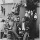 Zleva:  Josef Kopenec, Jindřich Veselý a Josef Skupa v expozici Loutkářské výstavy ve vile Grébovka v Havlíčkových sadech, Praha, 1924