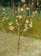 Vincent van Gogh painting with a tree in bloom.