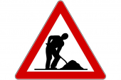 Road sign for construction work.